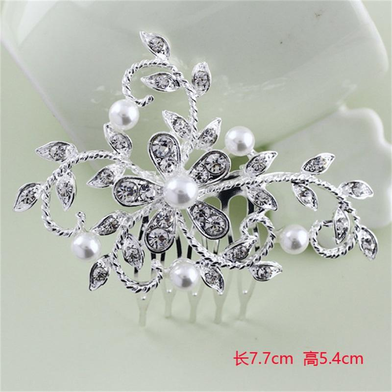 Fashion Peacock Butterfly Flower Leaf Pearls Crystal Rhinestones Bridal Wedding Hair Clip Comb Hair Pins Accessories Jewelry