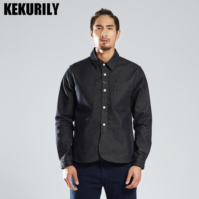 newest 02b3d 84b65 KEKURILY Camicie di moda di marca uomo patchwork tasca manica lunga in  cotone camicia di jeans casual slim fit maschili camicie di spessore nero