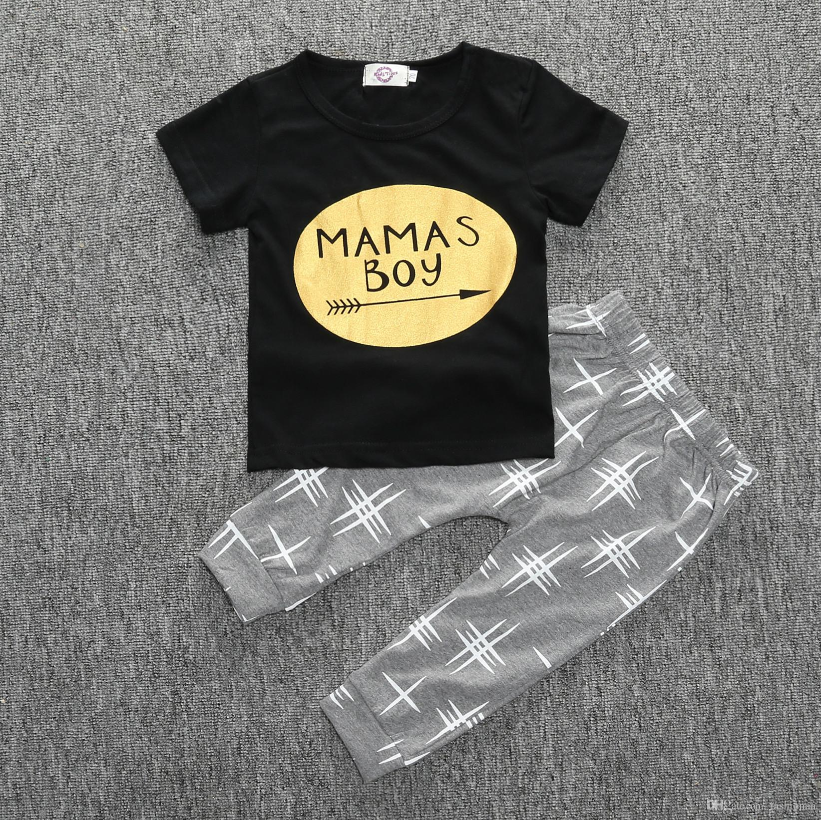 Summer Baby Boys Clothing Set INS Fashion Newborn Cotton Short
