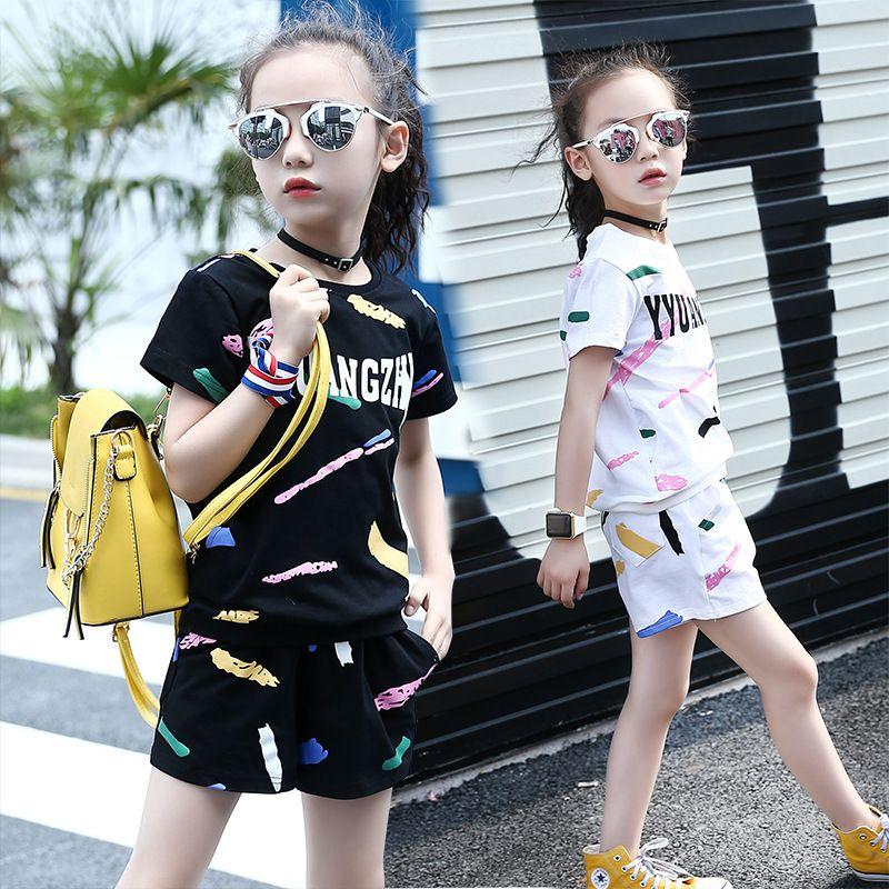 b7604193a 2019 2018 New Summer Girls Fashion Clothing Sets O Neck Graffiti ...