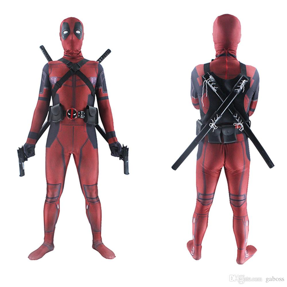 Deadpool Cosplay Costume Man Marvel Deadpool-Costumes Adult kids Wade Wilson Spandex Lycra Nylon Zentai bodysuit Second Skin Tight