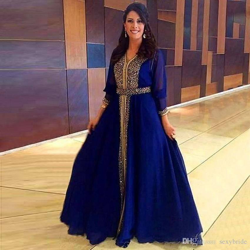 25acce66c31fd Elegant Sparkly Sequines Beaded Muslim Evening Dresses 2018 Dubai Kaftan  Royal Blue Prom Dresses Moroccan Floor Length Mother Evening Gowns Black  Evening ...