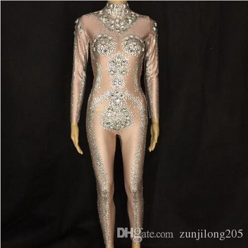 2019 Sparkly Big Stones Jumpsuit Long Sleeves Spandex Black Nude Bodysuit  Evening Party Celebrate Costume Rhinestones Leggings From Zunjilong205 342e2213f9bf