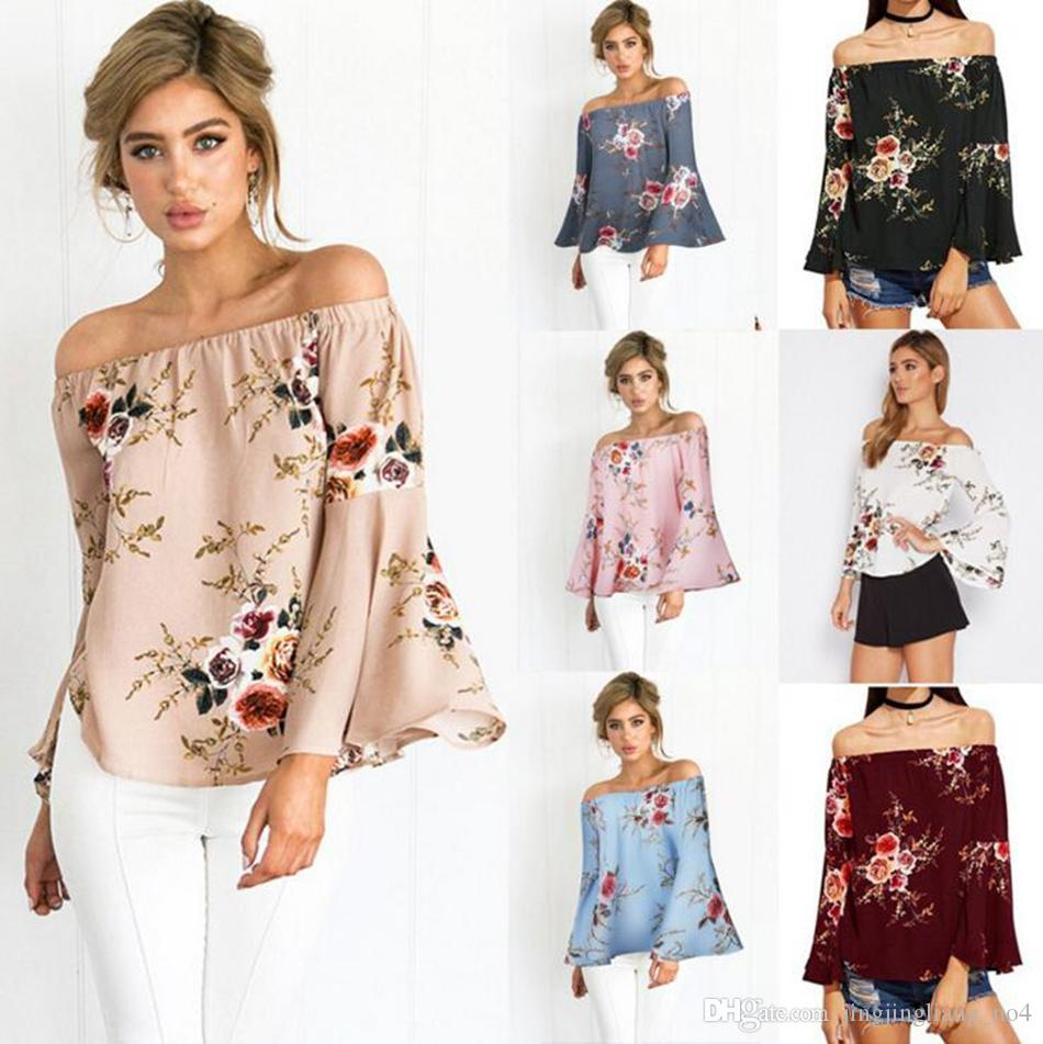 277d7f7272d00 Women Off Shoulder Floral Printed Tops Blouses Summer Flare Sleeve Casual  Loose Beach Shirts LJJO4135 The T Shirt T Shirts Designer From  Jingjingliang no4