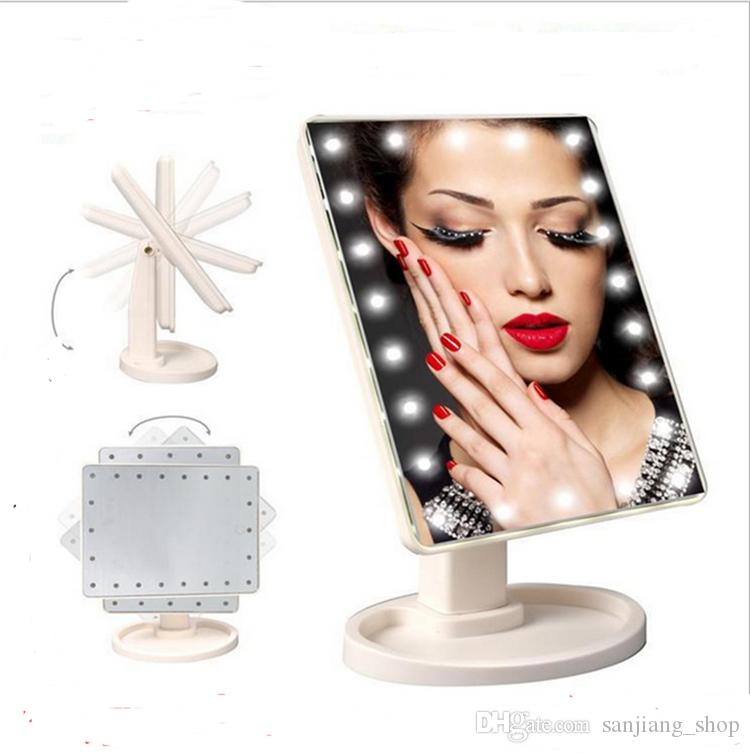 Cosmetic LED Mirror 360 Degree Rotation 16 LED light Touch Screen Folding Portable Compact Pocket Make up Mirror