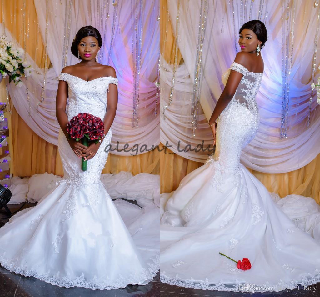 2018 New African Mermaid Wedding Dresses Off Shoulder Cap Sleeves ...