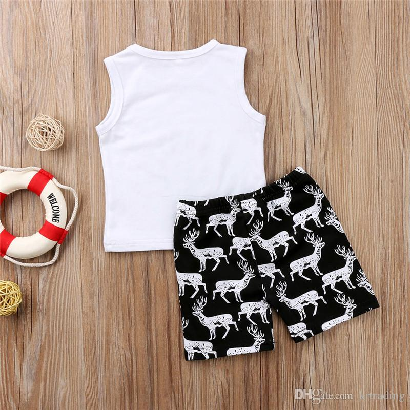 Toddlers cute deer pineapple cartoon printing summer outfits sets sleeveless white printing T shirts+short pants baby casual beach cloth