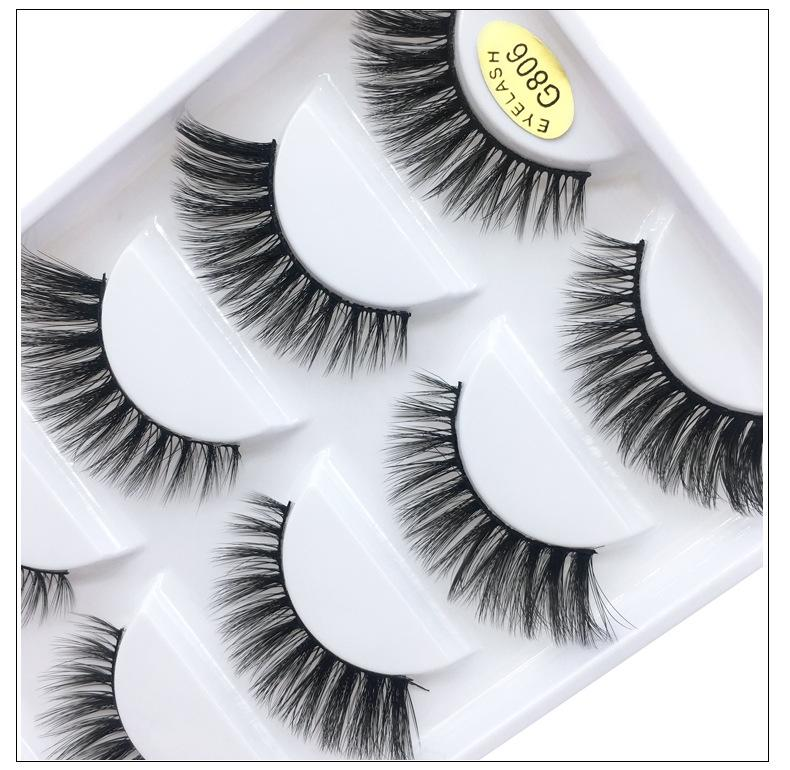 5 Pairs Fake lashes real mink fur hair handmade reusable false eyelashes soft & vivid black cotton stalk DHL Free