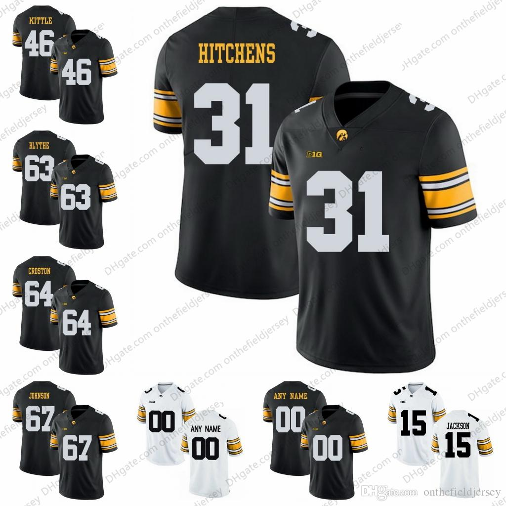 Iowa Hawkeyes College Football Jerseys  31 Anthony Hitchens 46 George Kittle  63 Austin Blythe 64 Cole Croston 67 Jaleel Johnson S 3XL UK 2019 From ... f1fea65a2