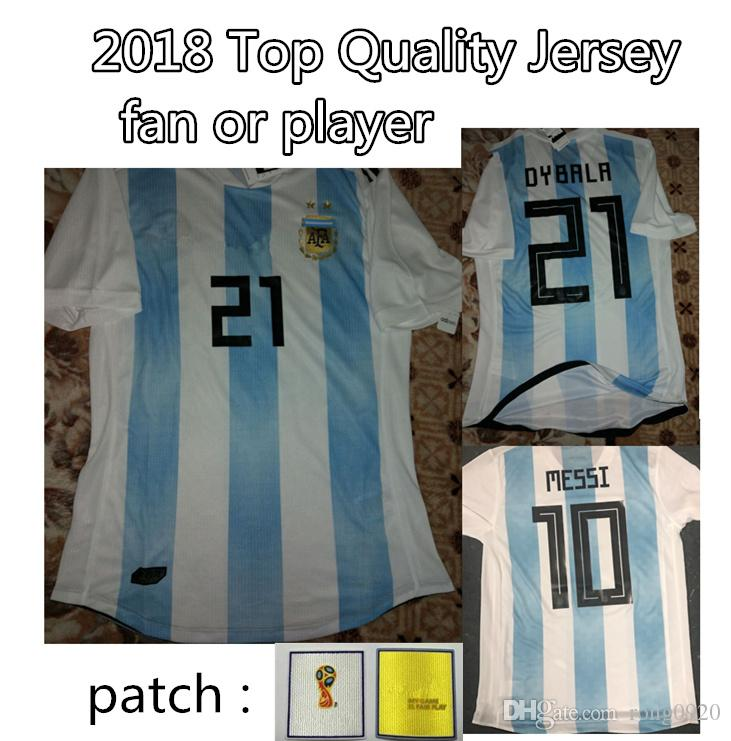 74ae34160 ... coupon code 2018 argentina national team 10 messi 21 dybala custom with  patches fans player verseion