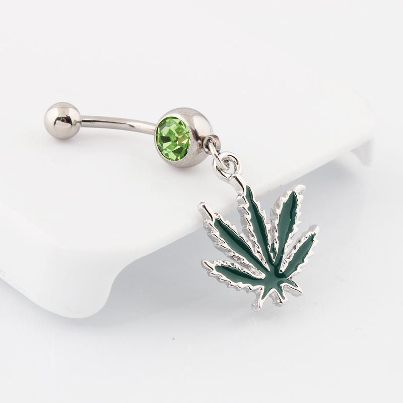 Piercing dangle Jamaican Rasta Pot Leaf gem Belly button rings body jewelry 14G stainless steel wholesale navel bar Clear green