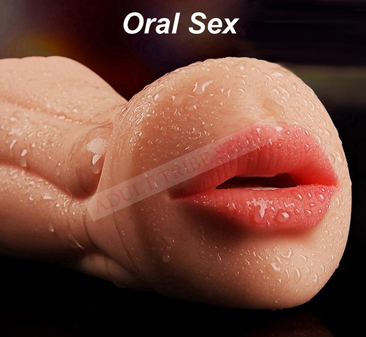 Artificial silicone Vagina Male Masturbator Realistic pocket pussy Oral sex cup Deep Throat with Tongue Teeth Maiden adult Sex Toys for Men