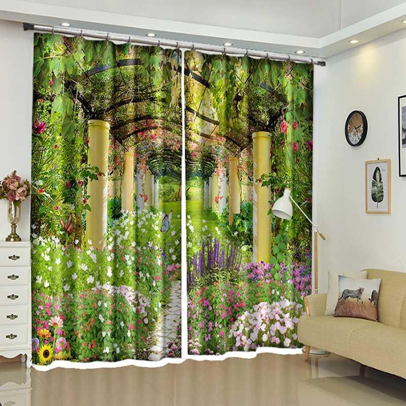 Acheter Nouveau 3d Blackout Fenêtre Rideaux Couloir De Plante Verte