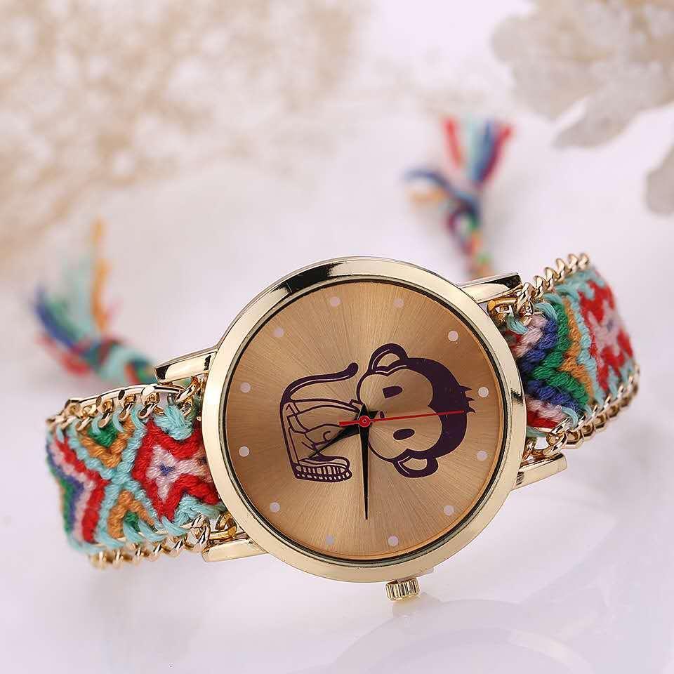 7a1ddabc5 Compre Único Nuevo Viento Nacional Tejer Dama Pulsera Reloj Mano Coreana  DIY Reloj De Pulsera Mono A $36.1 Del Lovesongs | DHgate.Com