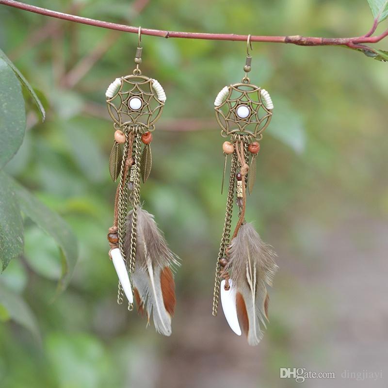 Dreamcatcher Long Feather Drop Earrings Beads Danglers Bohemia Ethnic Vintage Charm BOHO Holiday Jewelry