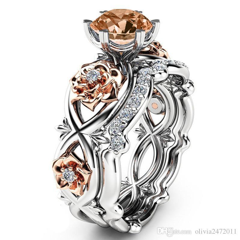 Posrebrzane 2 sztuk Zestaw Kryształowe Obrączki Miłośników Prezenty Rhinestone Pierścionki dla Kobiet Rose Flower Ring Sj