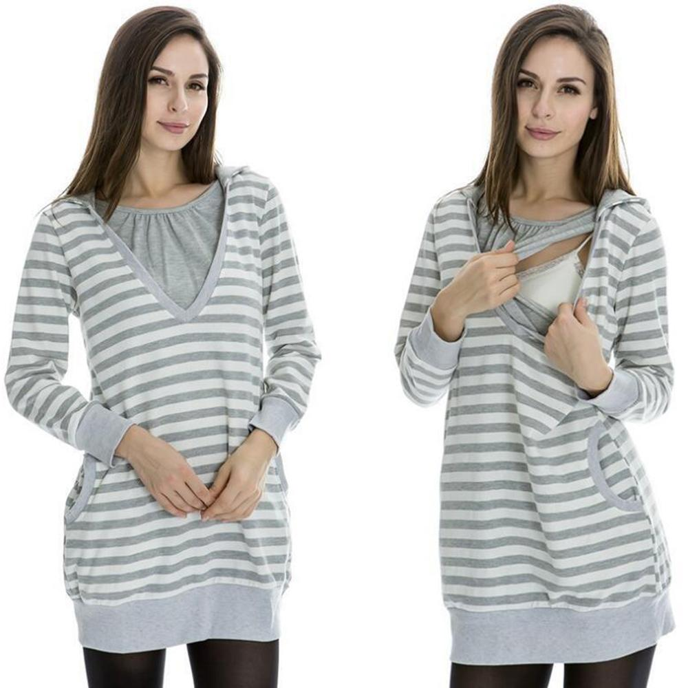 560b3b414db 2019 Plus Size Pregnancy Autumn Women Maternity Clothes Hooded  Breastfeeding Striped T Shirt Nursing Clothes For Pregnant Women From  Okbrand