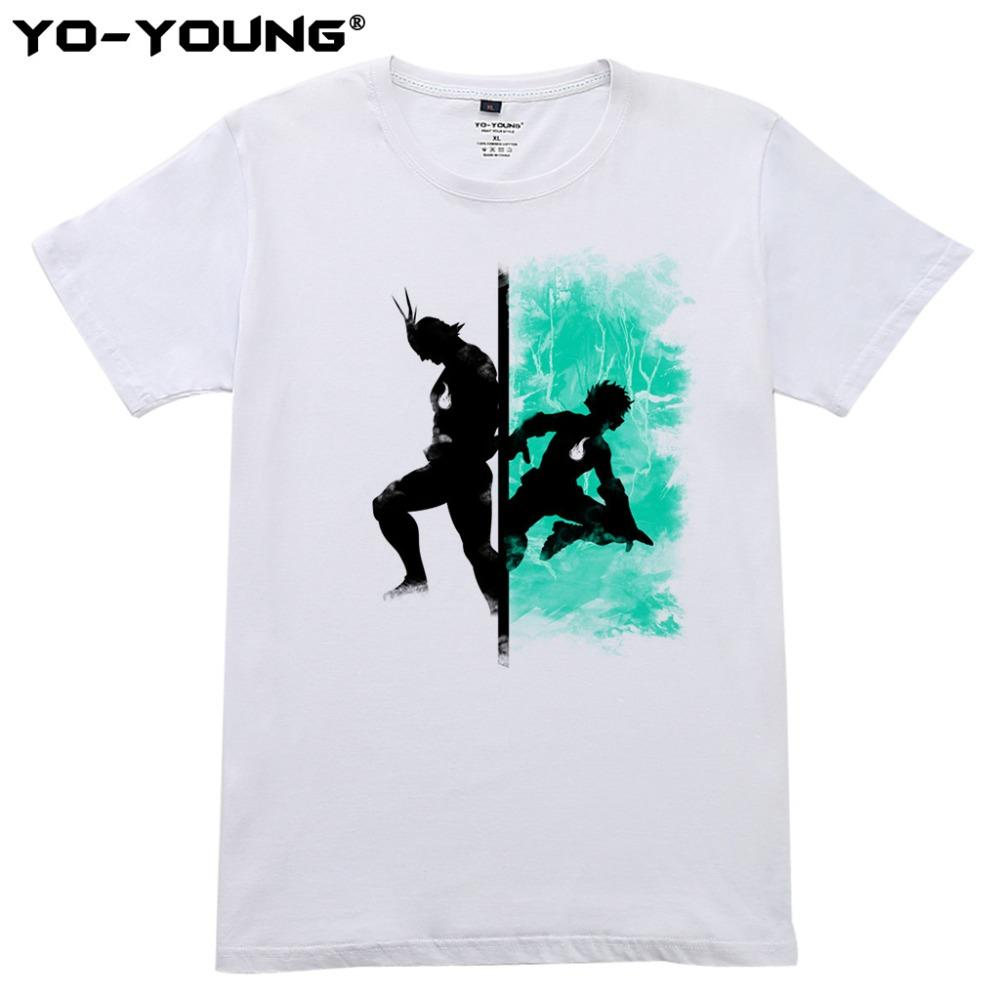 8454deb9 Summer Men T Shirts Anime My Hero Academia Deku Allmight Digital Printing  100% 180gsm Combed Cotton Tops Homme Customized Cool Shirt Designs T Shirt  Quotes ...