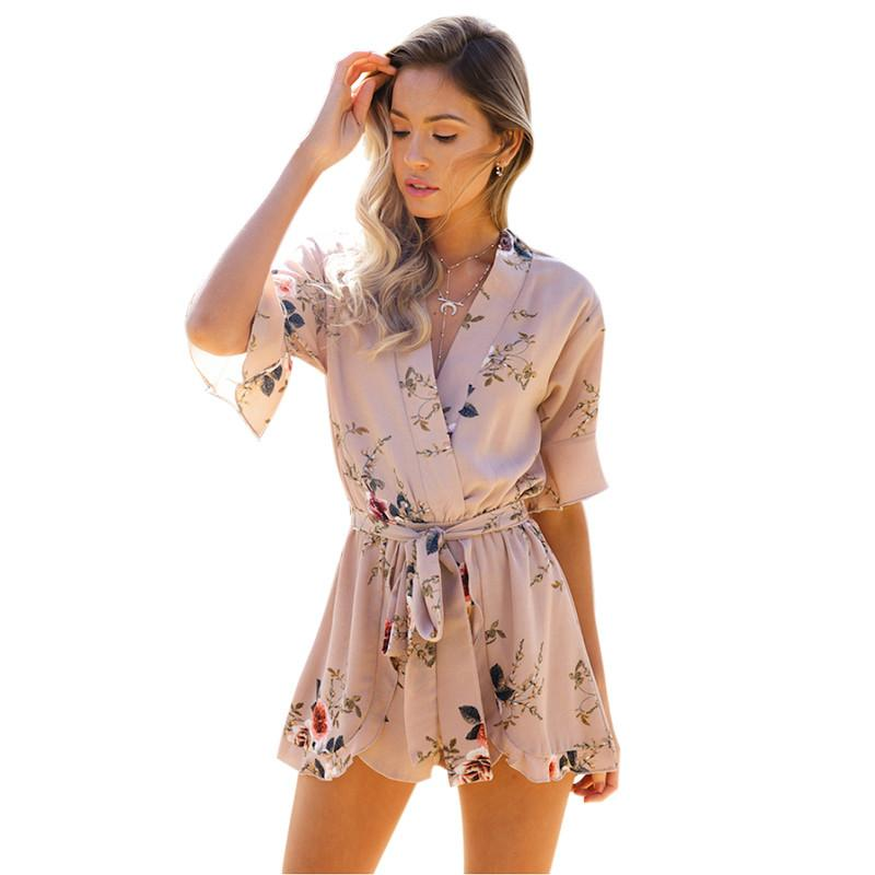 19a9d55709 2019 Boho Red Floral Print Ruffles Playsuits Women Elegant Autumn White V  Neck Jumpsuits Rompers Sexy Beach Girls Short Overalls From Kaseller