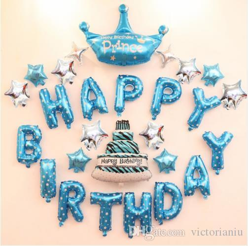 Boy Birthday Decoration Ideas Happy Letter Balloons Kit Kids Party Prince Baby Shower Centerpieces Supplies