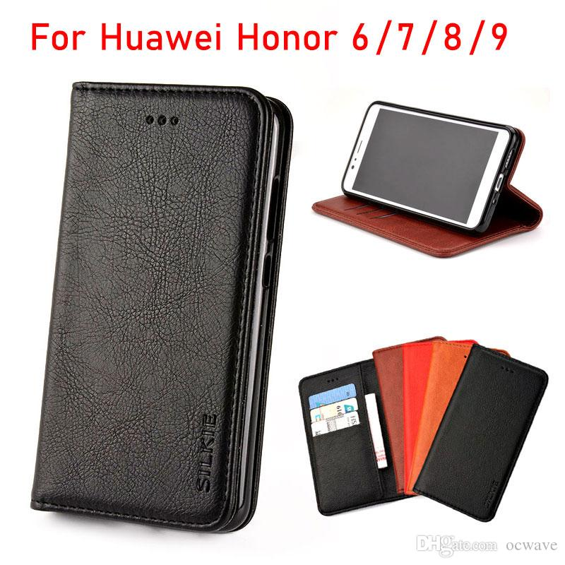 san francisco 14992 ed353 For Huawei honor 6 7 8 9 case Luxury Flip cover Vintage Leather with stand  Card Slot Without magnets Cases for Huawei honor 6 7 8 9 fundas