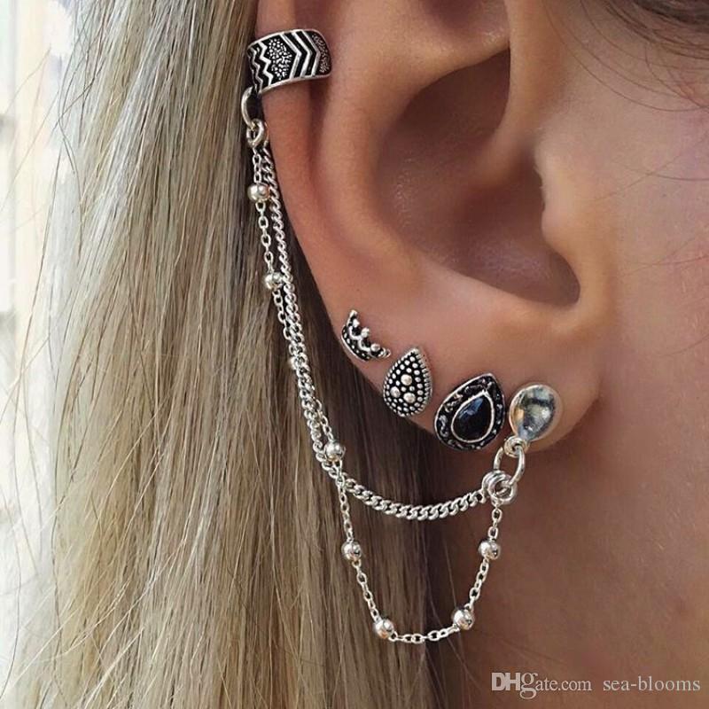 4 unids / set bohemio estilo retro corona del oído del perno prisionero gotas de agua cadena de moda pendientes para las mujeres Ear Cuff con cadena conjunto pendientes D464L