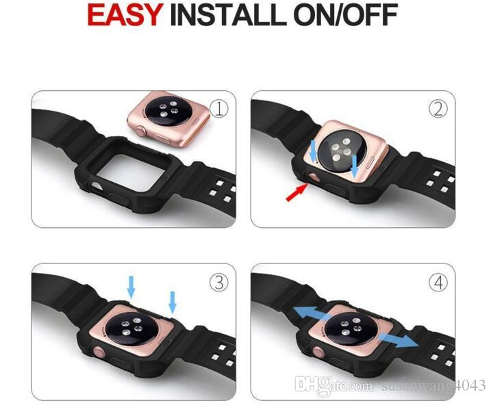 Smart Watch Silicone Band + Armor PC Frame cases defender Cover For iPhone iWatch Apple Watch S1 S2 S3 Silicon Strap Sport Bracelet GSZ425