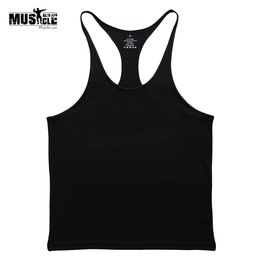 0ac66c87f78f84 2019 Gyms Tank Top Men Blank Bodybuilding Clothing Stringer Singlets  Fitness Men Gyms Sleeveless Coon Racerback Workout From Glorying