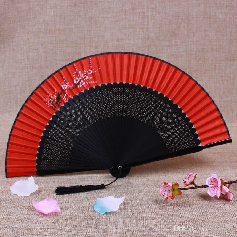 2019 Vintage Bamboo Folding Japanese Fan Bride Wedding Silk Fans
