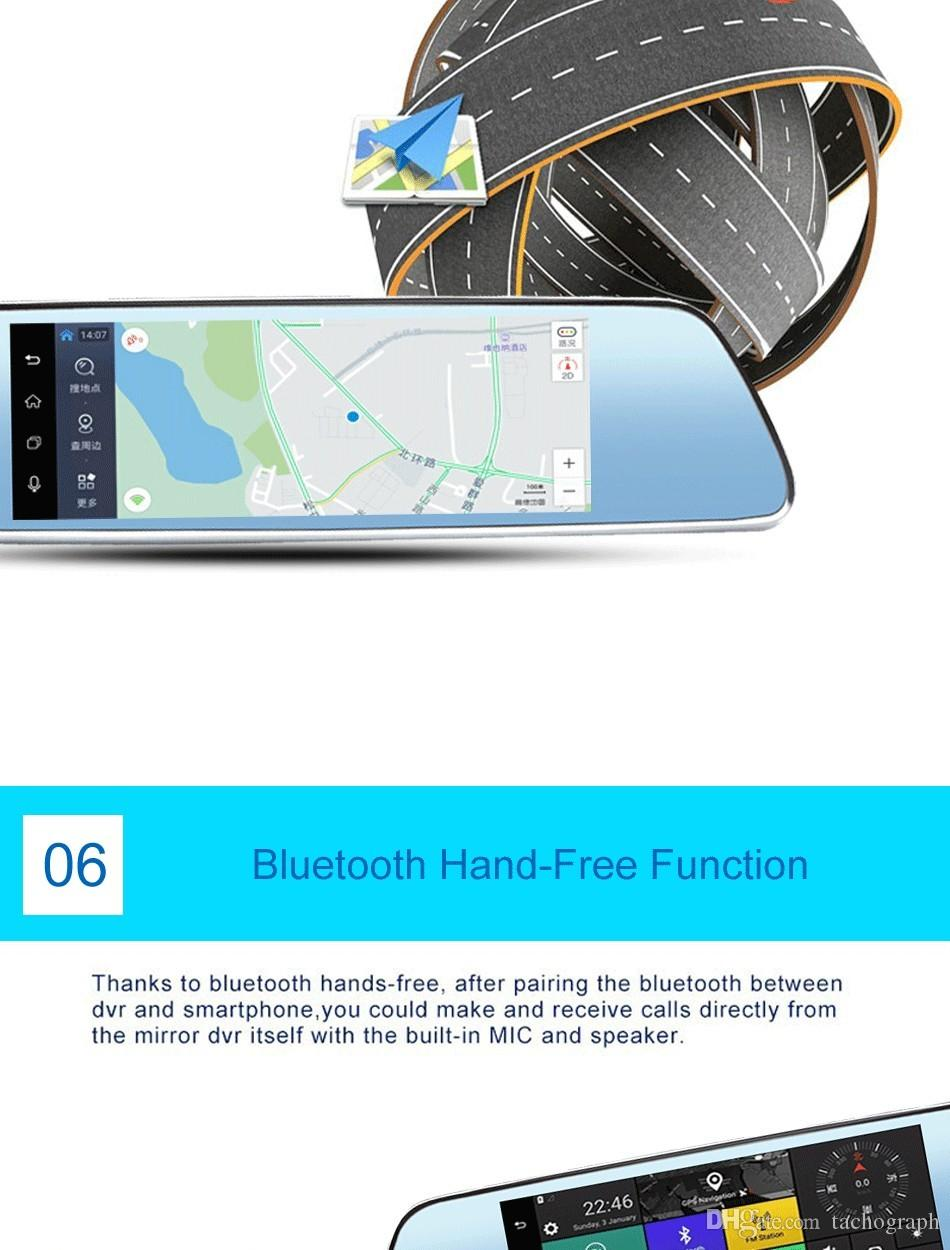 Carro DVR, 7 polegada Capacitivo Android carro GPS Navegador Quad Core 8 GB carro DVR kuajieshi cam câmeras duplas 1080 P registro livre mapas