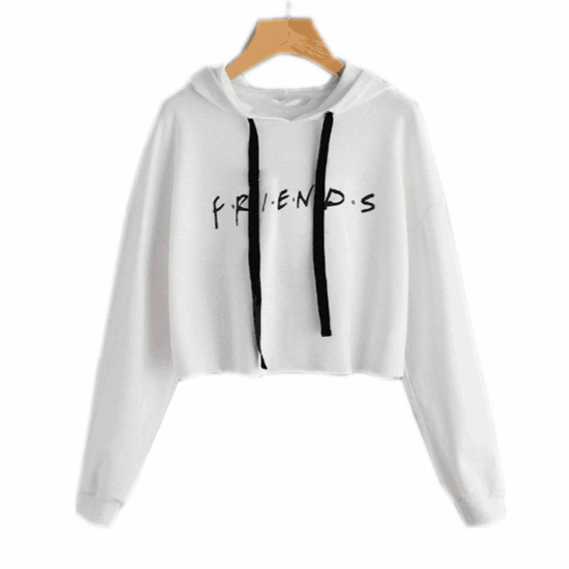 4ceb5613b48 Friends Letter Printed Cropped Hoodie Women 2017 Autumn Long Sleeve Hooded  Sweatshirt Casual White Pullover Sudadera E0211