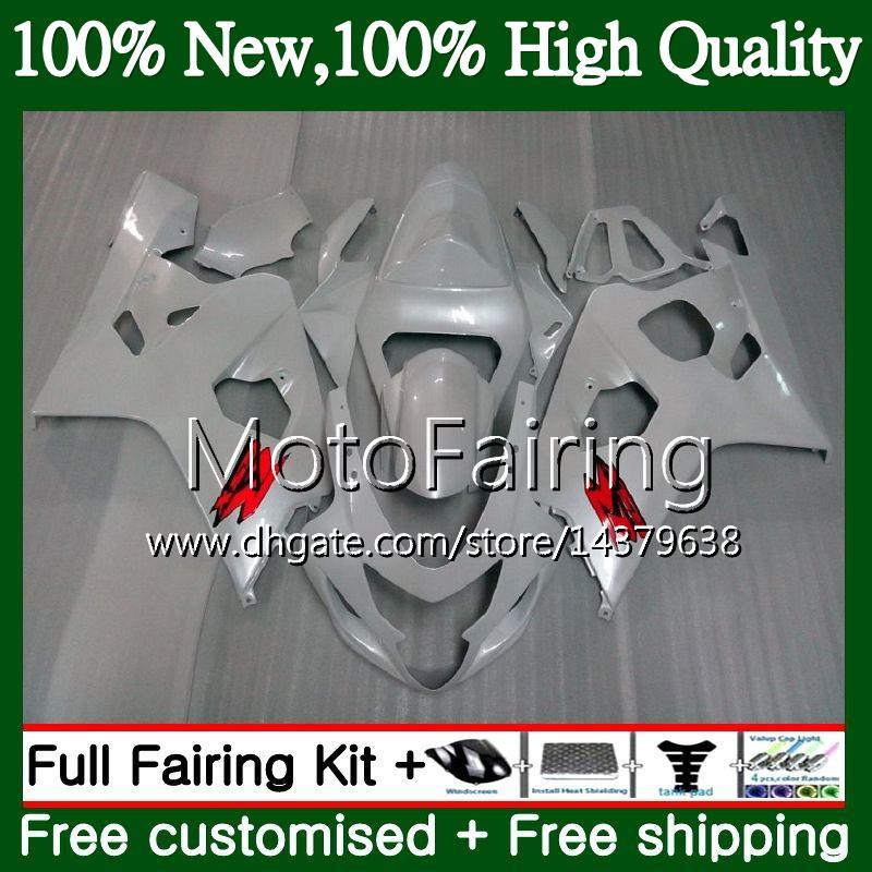 Body Pearl White para SUZUKI GSXR 750 GSX R600 K4 GSXR 600 04 05 24MF2 GSX-R750 GSX-R600 GSXR750 04 05 GSXR600 2004 2005 Fairing Bodywork