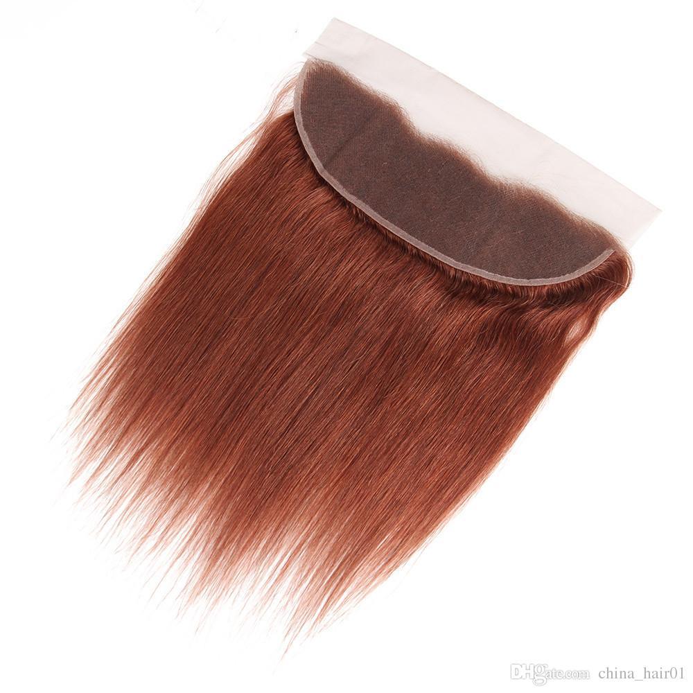 Straight # 33 Медь Красного 13x4 полного шнурок Фронтальное Закрытие с Weaves Бразильской Virgin Dark Auburn человеческих волос 3 Связка Наносит Extensions