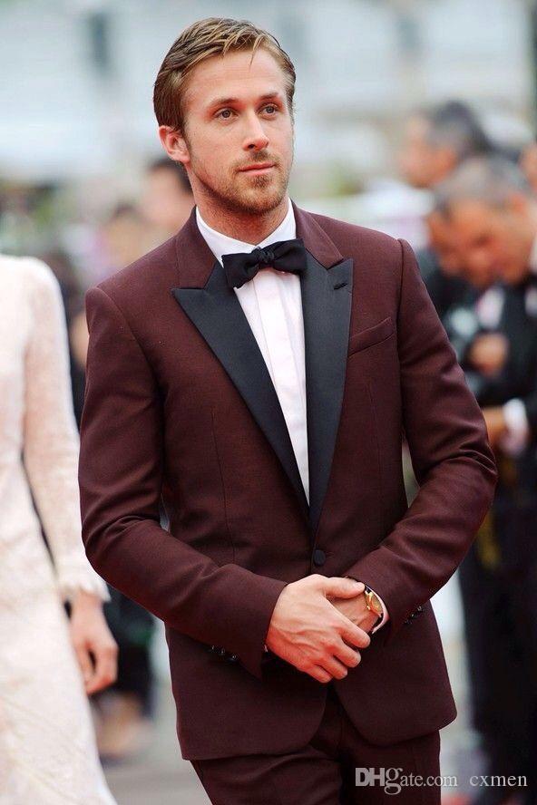 Wine Red Burgundy Men Suits 2018 Wedding Black Peaked Lapel Handsome Groom Tuxedos Slim Fit Best Men Blazer Jacket +Pants
