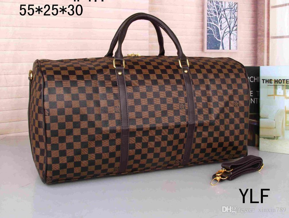 c7af1297e7 Hot 55CM Luxury Brand Men Women Travel Bag PU Leather Duffle Bag ...