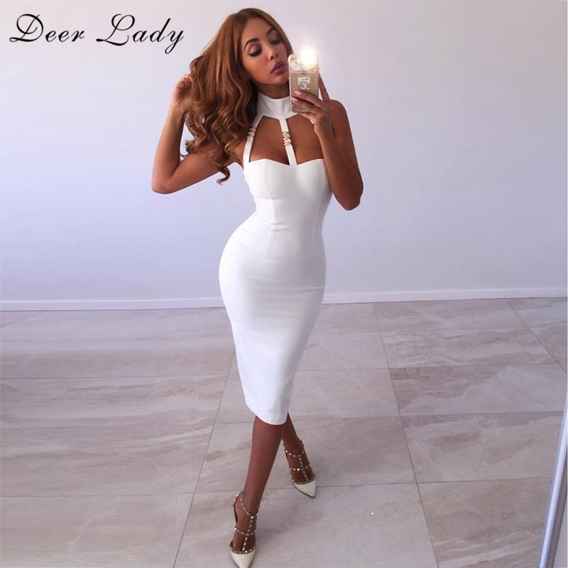 2019 Deer Lady New Arrival 2017 Bandage Dress White Mini Dress Sexy Clubwear  Spandex Halter Bandage Rayon Wholesale From Dolylove 730574553c43