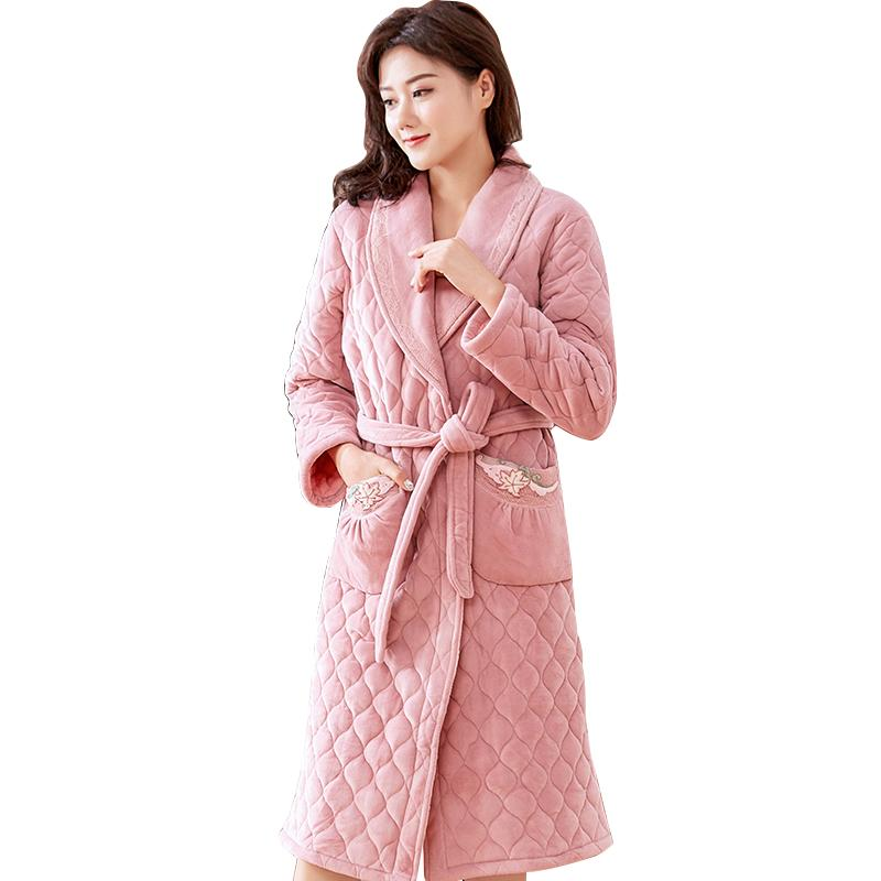 2019 Flannel Quilted Warm Long Bathrobe Women Dressing Gown Bride