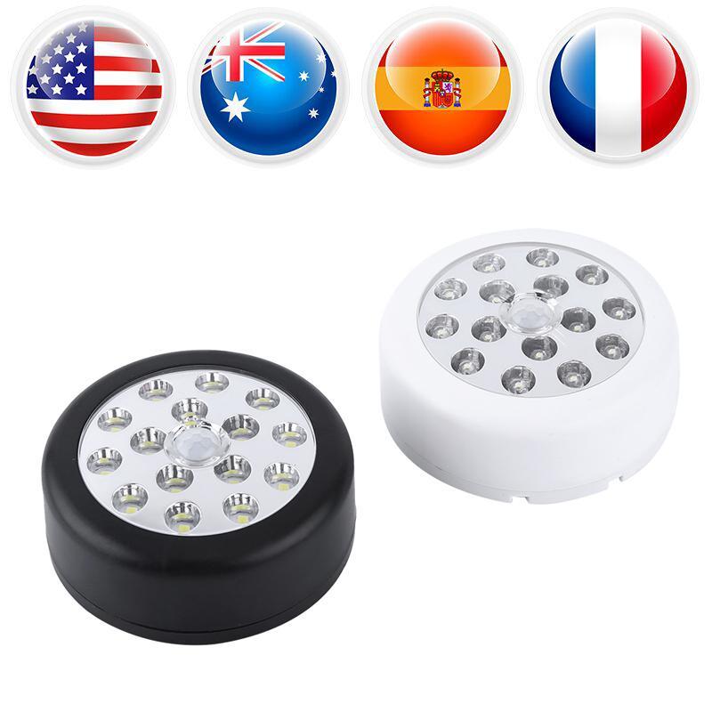 Lampe Éclairage Fil Pcs Motion Auto Capteur Nuit Sensible Led Mur Ronde 1 Cabinet 15 Lumière Sans Pir vN0w8Omn