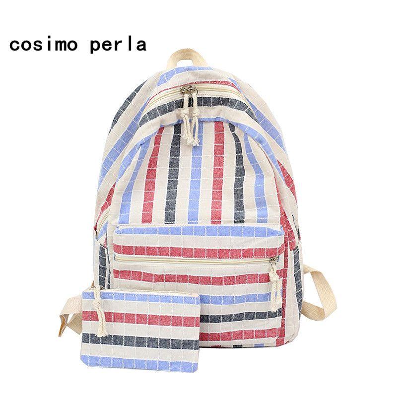 New 2018 Striped Canvas Backpack Set With Pen Bag Korean Fresh Backpacks  Schoolbag For Teenage Girls Bookbag Female Dakine Backpacks Back Pack From  Finallan ... 78aaa62b8b73b