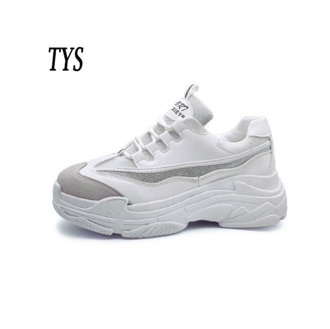 5fe991a132 Compre Plataforma Alta Para Hombre   Mujer Zapatos Casuales Blancos De Las Zapatillas  De Deporte De Las Señoras Zapatos Cómodos Respirables Zapatillas De ...