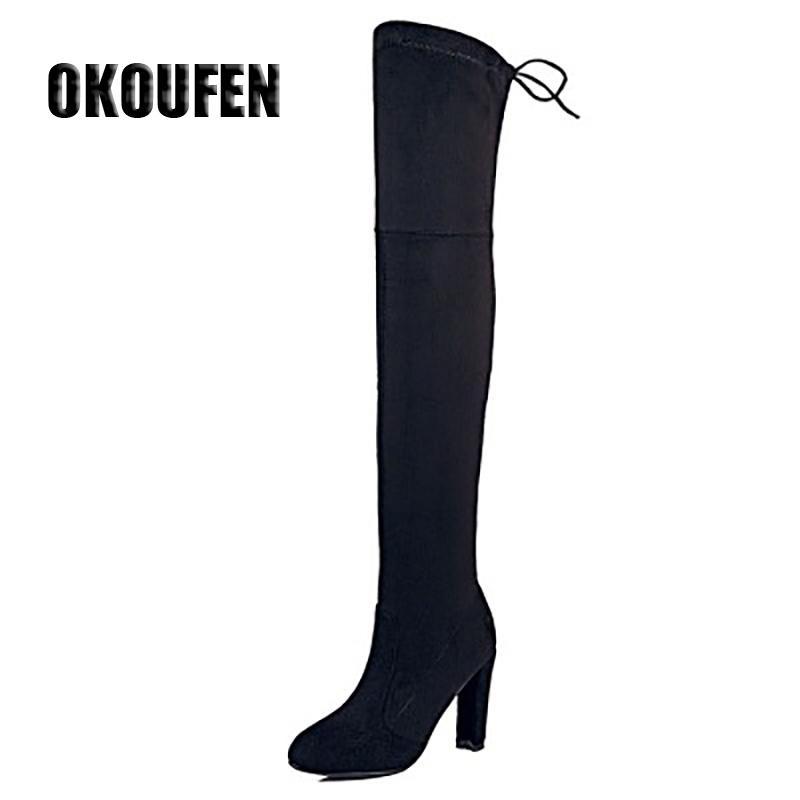 272ba2599bffb Satın Al 2017 Bahar Kadın Ayakkabı Kadın Botları Diz Yüksek Çizmeler Bacak Çanta  Diz Üstü Yüksek Topuklu Artı Boyutu, $36.66 | DHgate.Com'da