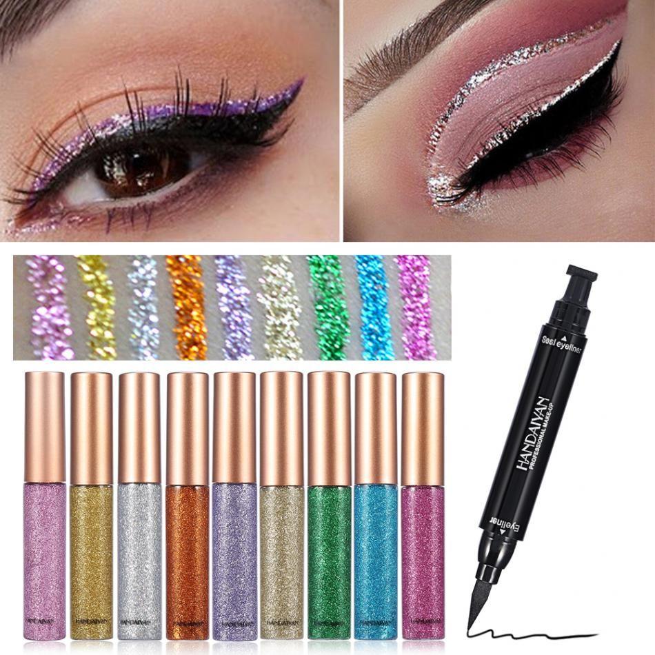 HANDAIYAN Gold Glitter Liquid Eyeliner Eyeshadow Double End Cat Eye Seal Stamp Waterproof Liner Beauty Make Up White Best