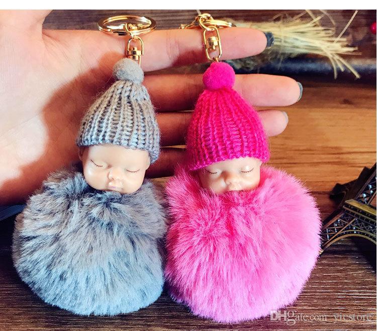 Fluffy Couchage Bébé Peluche Tricot Chapeau Keychain fausse fourrure de lapin Sacs Porte-clés