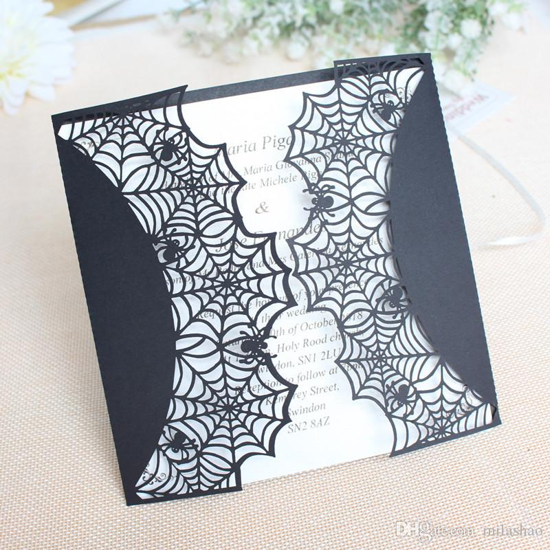 black spider fancy invitation card holloween easter prom party laser