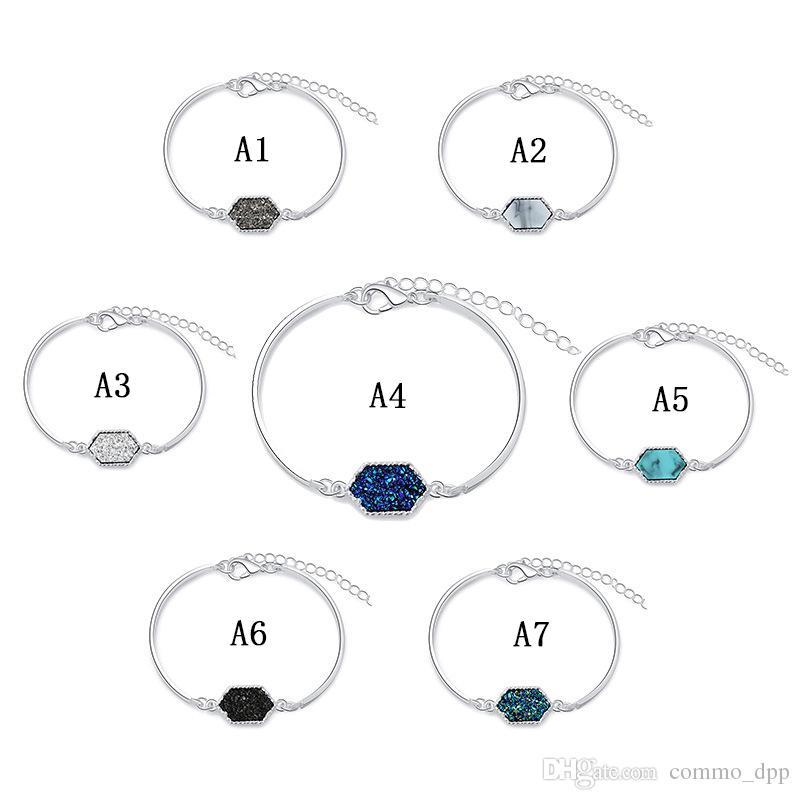 Luxury designer Druzy wire Bangle faux Geometric Natural stone charm bracelets For women s Fashion Jewelry Gift