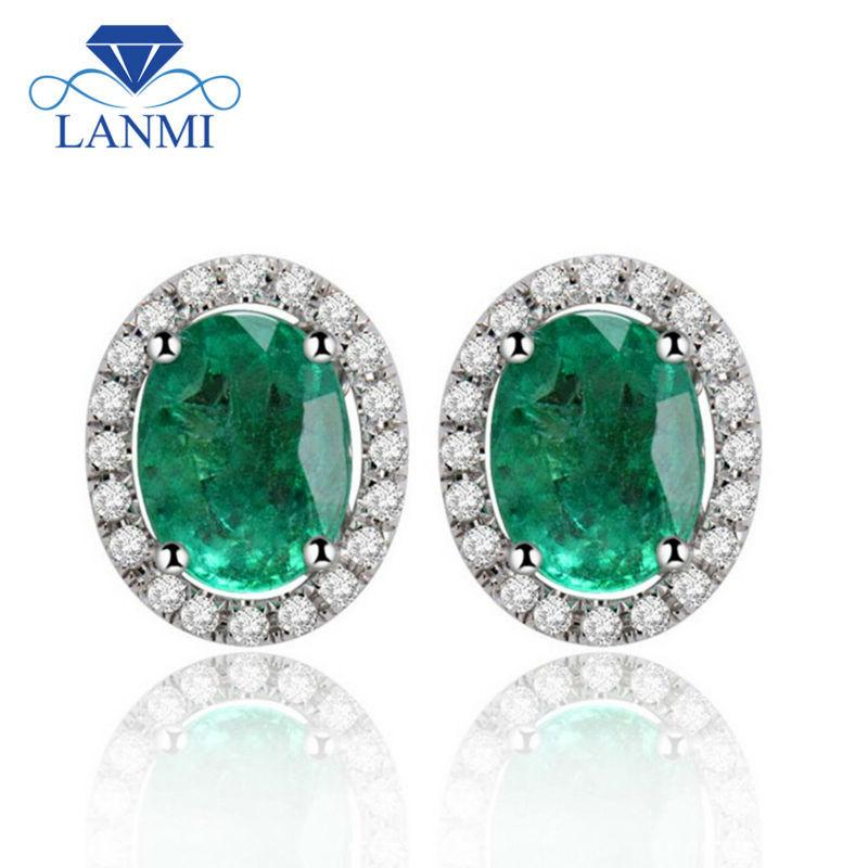8c4a54ba89e7 2019 Fine Jewelry Solid 14Kt White Gold Colombian Emerald Earrings ...