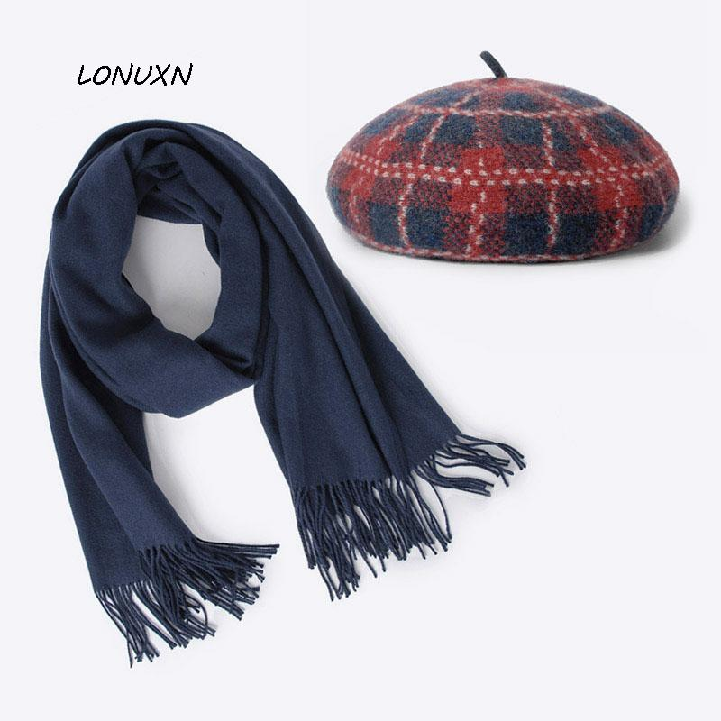 d9eab0bc49c0c 2019 High Quality Korean Version Fashion Winter Lattice Women S Beret +  Scarf Keep Warm Really Wool Leisure Wild From Chuancai