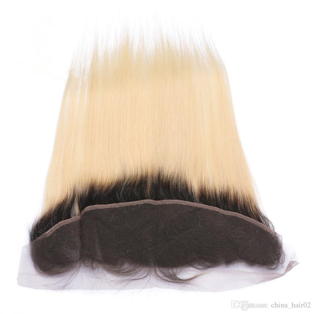 # 1B / 613 شقراء أومبير البرازيلي العذراء الإنسان الشعر حزمة صفقات مع أمامي مستقيم أومبير شقراء كامل الرباط أمامي 13x4 مع حزم نسج