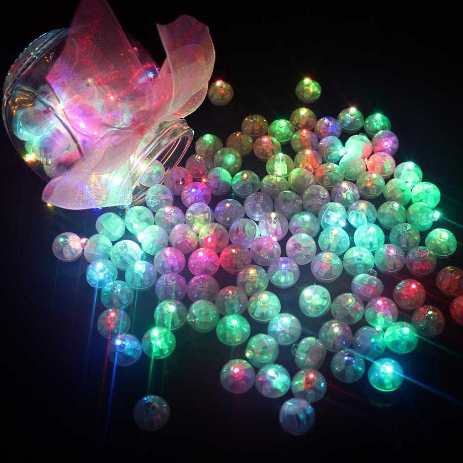 100 Pcs Round Ball Led Balloon Lights Mini Flash Lamps for Lantern Christmas Wedding Party Decoration White, Yellow, Pink