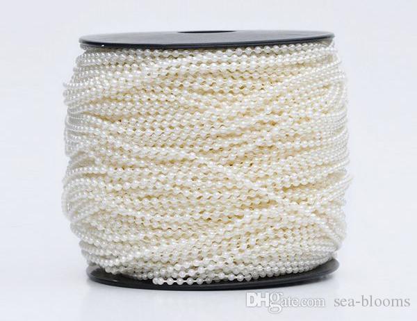 2.5mm 100m ABS plastica perla finta perline catena filo cotone linea nozze decorazioni feste bianco / beige festival artigianato D883L